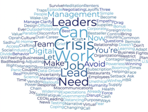 Word cloud showing top shared headlines from HBR's website.